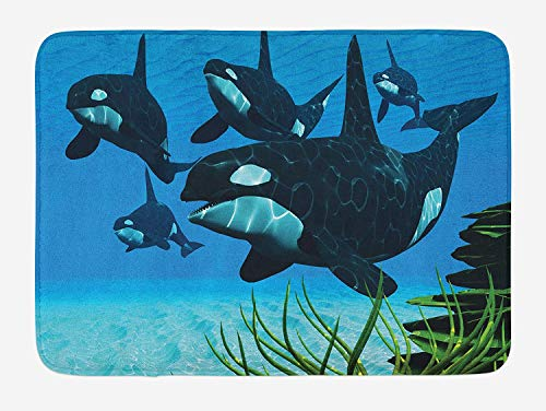 ziHeadwear Whale Bath Mat, Pod of Killer Whales Swim Along a Reef Looking for Fish Prey Ocean Picture Print, Plush Bathroom Decor Mat with Non Slip Backing, 29.5 W X 17.5 W Inches, Sky Blue Green -