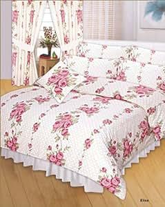 Motifs fleurs et papillons rose parure de lit avec housse de couette de 230 x 220 cm et 2 taies d'oreiller de 50 x 75 cm motifs de roses parure de lit motif floral