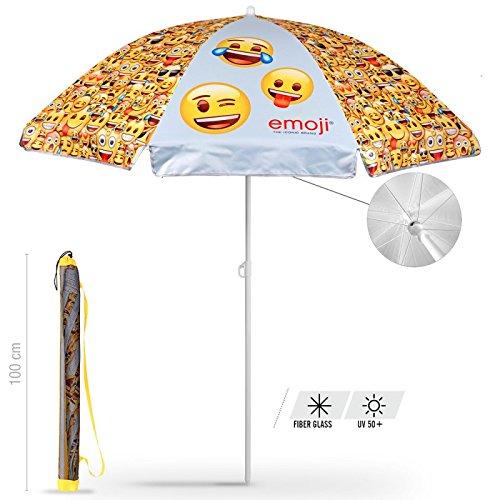 Schirm für Strand / Garten / Meer / Terrasse. Windfest - offizielle Emojis von Whatsapp - Lichtschutzfaktor UV SPF 30+. Schirm Perletti.