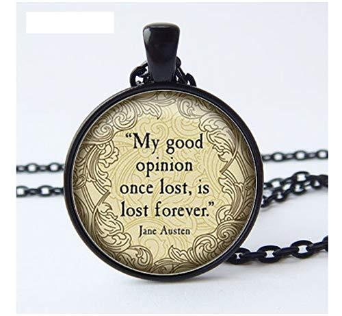 Austen Zitat Halskette, Meine Gute Meinung Charme, Austen Schmuck, Ihre Wahl Der Ausführung, Art Glass (Für Liebe Halloween Ihre Zitate)
