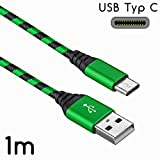 1 x Sony Xperia XZ2 / XZ2 Compact Datenkabel / Ladekabel / USB C Premium Kabel in Grün / Schwarz - 1 Meter - von THESMARTGUARD