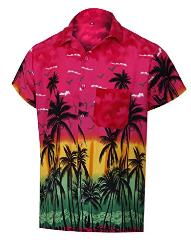Virgin Crafts Hawaiihemd Button Down Palm Print Rosa Farbe Aloha Theme Shirt für Männer -