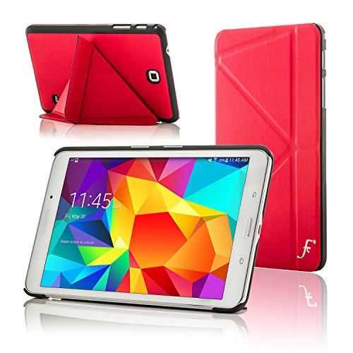 Forefront Cases Smart Hülle kompatibel für Samsung Galaxy Tab 4 8.0 T330 Origami Schutzhülle Tasche Case Cover - Ultra Dünn Leicht Rundum-Geräteschutz Smart Auto Schlaf Wach Funktion (ROT) (Für 4 Samsung Case Origami Tab)