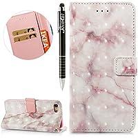 iPhone 8 Hülle,iPhone 7 Hülle,iPhone 7/8 Ledertasche Handyhülle Brieftasche im BookStyle,SainCat Retro 3D Marmor... preisvergleich bei billige-tabletten.eu