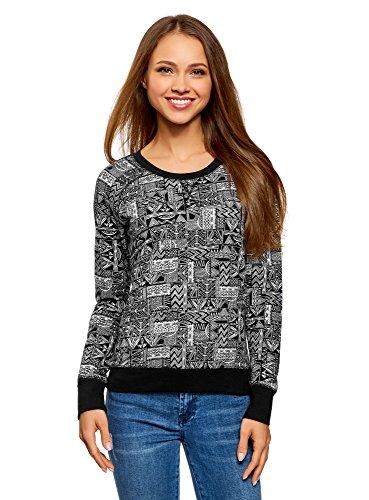 oodji Ultra Damen Bedrucktes Sweatshirt Basic, Schwarz, DE 38 / EU 40 / M