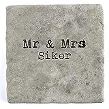 Mr & Mrs Siker - Single Marble Tile Drink Coaster