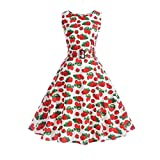 BringBring Damen Kleid Vintage Sleeveless Strawberry Print A-Linie Rock Knielänge (2XL, White)