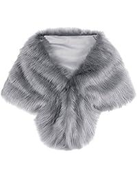 iBaste Donna Scialle Elegante Pelliccia Sintetica Coprispalle Giacca Sciarpa Wrap Cape Perfetto per Matrimonio / Partito / Spettacolo