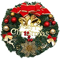 Ruikey 30cm Feliz Navidad Corona Decoración Artificial de plástico roja del Poinsettia del Acebo Puerta Colgando guirnaldas de Ventana Puntales