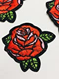 #2: Eerafashionicing Rose Flower Embroidered Patch Applique Sewing Tream (Red)