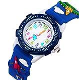Orologio Bambini per ragazze di Vinmori, insegnante 3D tempo Toddler orologio del fumetto, Cartoon Fighter Pattern Silicone orologio al quarzo impermeabile, miglior regalo per i bambini (blu)