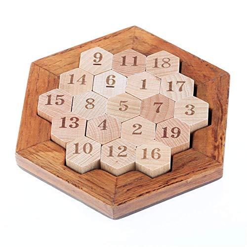 Gobus Holz Intelligenz Digital Spiel Digitale Platte Puzzle Hexagone Anzahl-Honeycomb Puzzle Mathematik Lehre Spielzeug Pädagogisches Spielzeug für Kinder Jugendliche Erwachsene Digital-platte