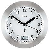 Wanduhr - AMS Baduhr Badezimmeruhr Funk silbern wasserdicht mit Thermometer