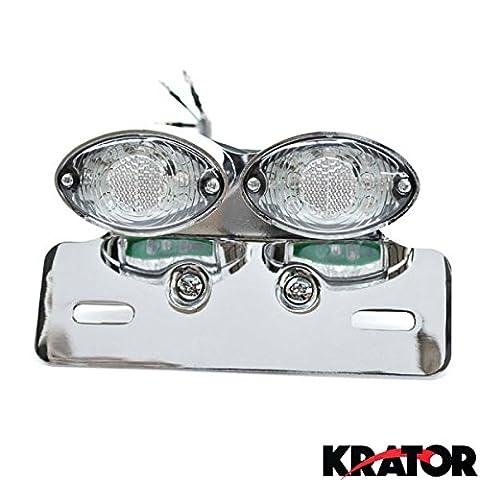Krator® CatEye Chrome double LED intégré arrière Feu stop clignotants