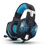 VersionTech G1000 Auriculares de Juego con Microfono Estéreo Profesional para Videojuegos Ordenador PC MAC Gaming Headset con Cable 3.5mm y LED Luz de Multicolor(Azul)