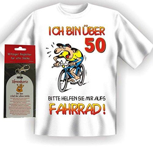 T-Shirt Ich bin über 50 bitte helfen sie mir aufs Fahrrad Größe XXL + Ehrenkarte alte Säcke -