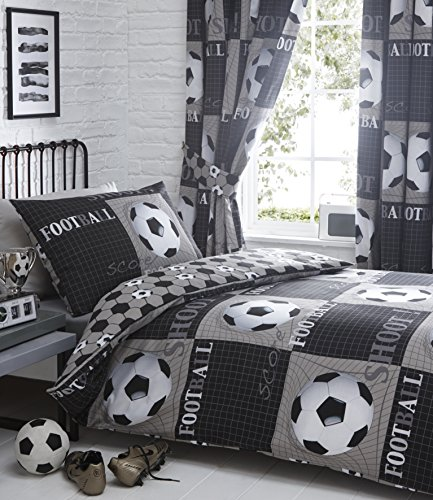Shoot Football Duvet Cover and 2 Pillowcase Bed Set, Polyester-Cotton, Grey, Double