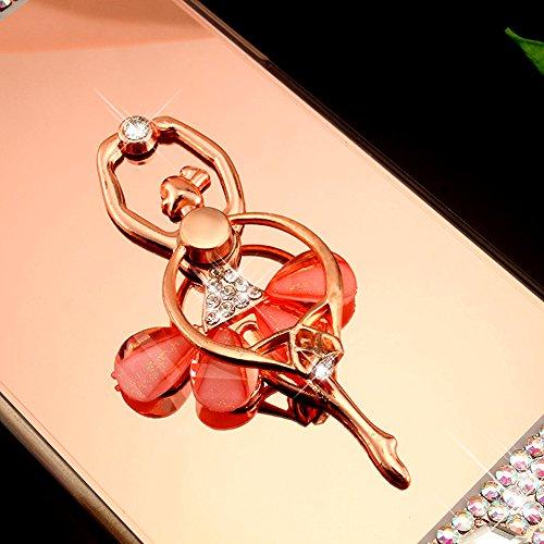 Custodia Cover iPhone 6/6S 4.7 Silicone Morbida,Ukayfe Trasparente Cristallo di Lusso di Bling Glitter Diamanti Strass Fiore Disegno per iPhone 6/6S 4.7 Clear Flexible TPU Gel Ultra Sottile Copertura  Ballerina Oro Rosa