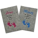 U-Heft Hülle aus Wollfilz mit Tasche für Impfpass Babyfüße blau
