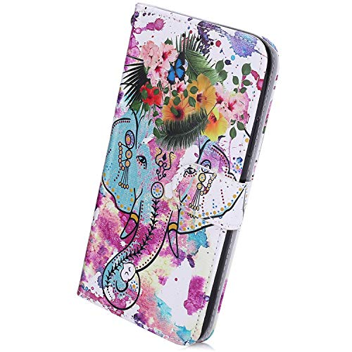 Herbests Kompatibel mit Samsung Galaxy S10 Handyhülle Muster Luxus Bunt Muster Flip Case Schutzhülle Brieftasche Hülle Wallet Tasche Leder Hülle Klapphülle Kredit Karten,Blumen Elefant