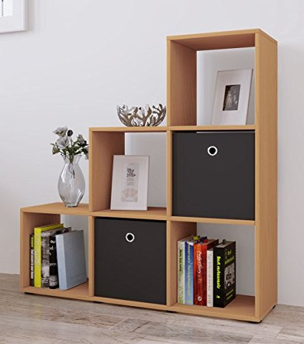 VCM Regal Treppenregal Raumteiler Stufenregal Bücherregal Standregal Holz Farbwahl Buche 105 x 108...