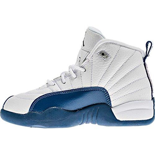 Jordan Nike Jungen Sneaker 12 Retro BP 151186-113, White/Frnch Bl/Metallic Silver/Vrst - Größe: 33 EU (Jordan Retro 12 Kinder)