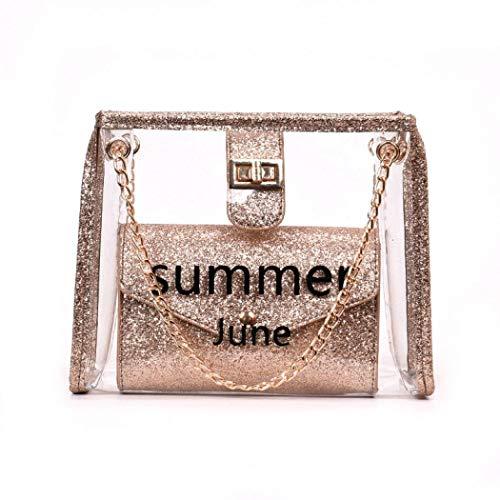 Morer Umhängetasche für Damen, transparent, mit Perlen, wasserdicht, PVC, glitzernd, Strandtasche Gr. One size, rose gold -