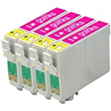 4 Compatible Light Magenta Printer Ink Cartridges to replace T0486 for use in Epson Stylus Photo R200, R220, R300, R300M, R320, R330, R340, R350, RX300, RX320 RX500, RX600, RX620, RX640