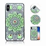 iPhone XS Hülle, iPhone X Hülle, QianYang TPU Silikon Henna Mandala Floral Handyhülle für iPhone X/XS Handytasche Muster Schutz Case Cover - Blumen Grün