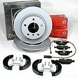 Zimmermann Bremsscheiben massiv Ø 280 mm Coat Z/Bremsen + Bremsbeläge Warnkabel + Handbremse Zubehör für hinten/für die Hinterachse