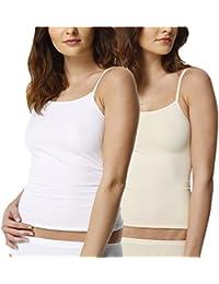 2 Pack Camiseta interior invisible para mujer, microfibra