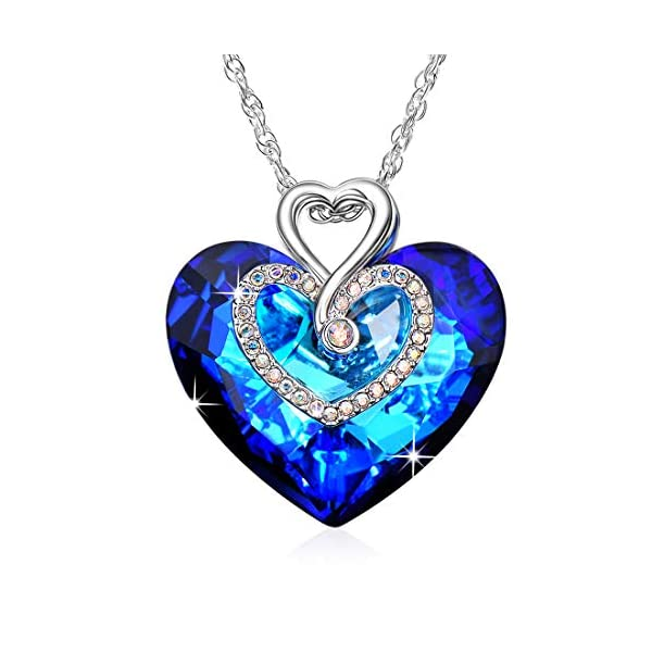 Alantyer Everlasting Love Ocean Blue Heart Necklace with Austrian Sapphire Crystal Pendant for Women and Girls, Gift Packed, 45+5cm Extender 51HxUcWEk L