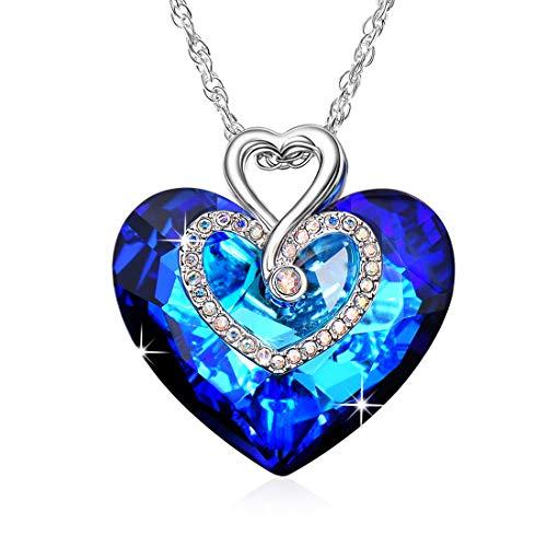 Kette Herz Damen Halskette mit  Herz des Ozeans  Blau Anhänger Kristallen  von Swarovski, 075fd12933