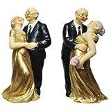 Brautpaar Hochzeitspaar für goldene Hochzeit aus Resin(ca.12cm)Tortenfigur Geldgeschenk