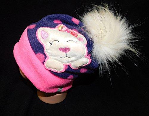 LunaChild Fleece Mütze Beanie 40 41 42 Katze Bommelmütze Punkte violett pink