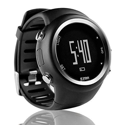 EZON T031A01 GPS Sportuhr für Männer und Frauen Outdoor Freizeit Laufen Digital Armbanduhren mit Kalorienzähler, Pace Erinnerung, Alarm und Stoppuhr