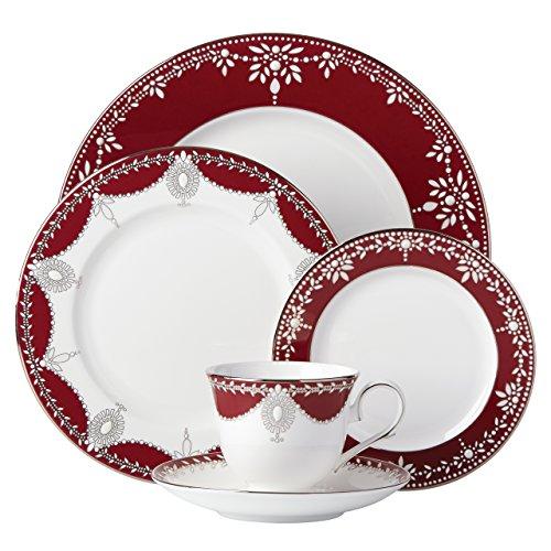 Lenox Marchesa Empire Pearl Geschirr-Set, 5-teilig, Weinrot Lenox Marchesa Empire Pearl