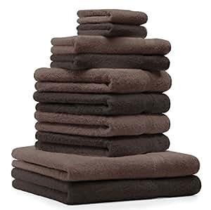 10 tlg. Handtuch Set Premium Farbe Dunkel Braun & Nuss Braun 100% Baumwolle 2 Duschtücher 4 Handtücher 2 Gästetücher 2 Waschhandschuhe