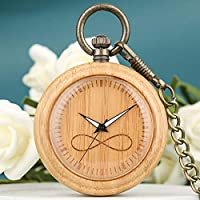 AUED Wooden Watches,Natural Wooden Pocket Watch Quartz Movement Watch Adjustable Creative Pocket Table Large Dial Birthday Gift Men
