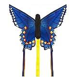 HQ Windspiration Invento 100308 - Butterfly Kite Swallowtail R Kinderdrachen Einleiner, Ab 5 Jahren, 34 x 52 cm und 2 x 3 m Drachenschwanz Ripstop-Polyester 2-4 Beaufort, blau