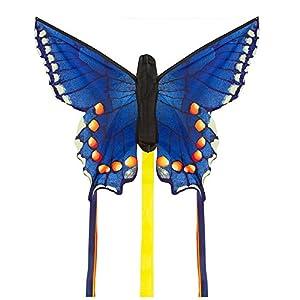Invento 100308 - Cometa Infantil, 34 cm x 52 cm y 2 m x 3 m, de iniciación, Tejido Ripstop de poliéster 2-4 Beaufort, a Partir de los 5 años, diseño con Mariposa, Color Azul