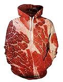 Leapparel 3D Gedruckt Hoodie Neuheit Fleisch Pullover für Herren Damen Unisex Sweatshirt Pullover mit Großer Tasche XL/M