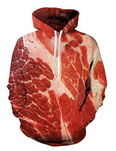 Bfustyle 3D Gedruckt Hoodie Neuheit Rindfleisch Pullover für Herren Damen Damen Unisex Sweatshirt...