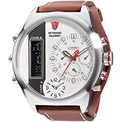 DETOMASO Palermo Men's Quartz Watch with Silver Dial Analogue - Digital Display and Brown Leather Bracelet Dt2052-F