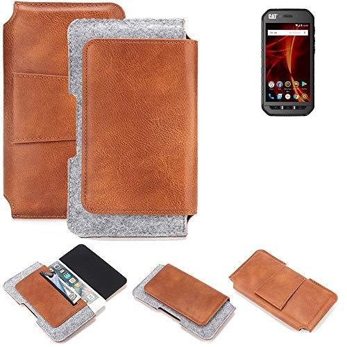 K-S-Trade für Caterpillar Cat S41 Dual-SIM Gürteltasche Schutz Hülle Gürtel Tasche Schutzhülle Handy Smartphone Tasche Handyhülle PU + Filz, braun (1x)