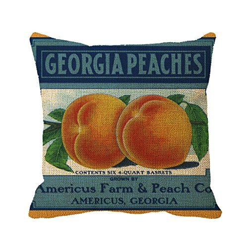 FPcustom Pillowcase Vintage Fruit Crate Label Art, Georgia Peaches Throw Pillow Cover 16inch (Crate Label)