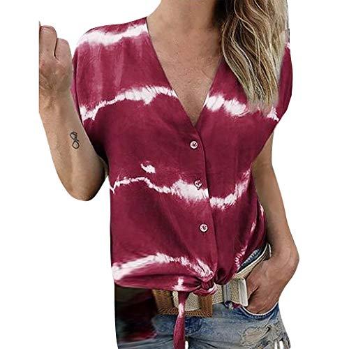 BfmyxgsDamenmode Bedruckt und gefärbt gestreiften Knopf V-Ausschnitt T-Shirt Top lose Bluse für Mädchen mit Knoten -