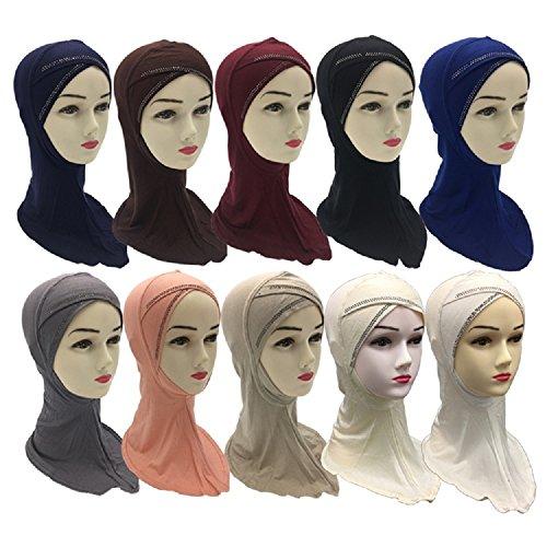Imitated Rhinestones Decorated Cross Muslim Arab Cotton Hijabs Scarves