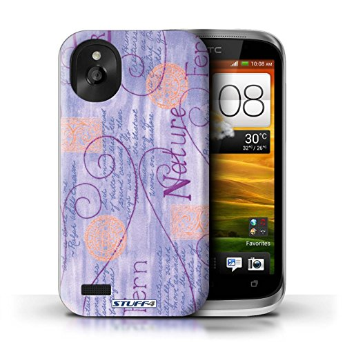 Kobalt® Imprimé Etui / Coque pour HTC Desire X / Jaune conception / Série Motif Nature Violet / Orange