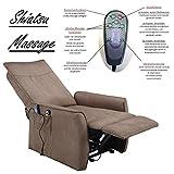 Fernsehsessel mit Aufstehhilfe und Shiatsu Massagefunktion / elektrisch verstellbarer TV Relaxsessel hellbraun